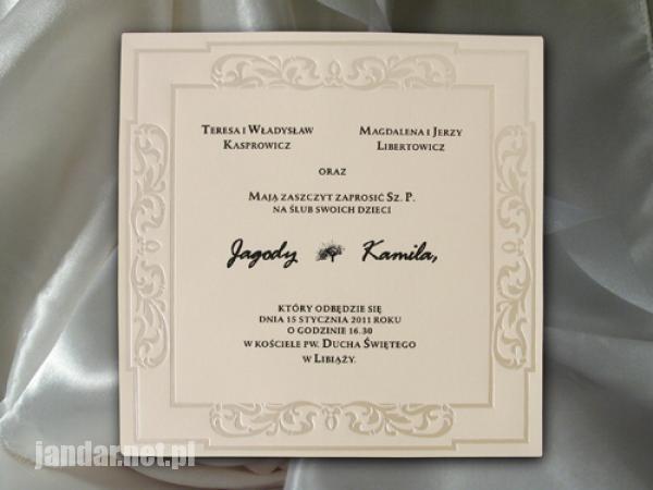Zaproszenia ślubne Jandar żyrardów